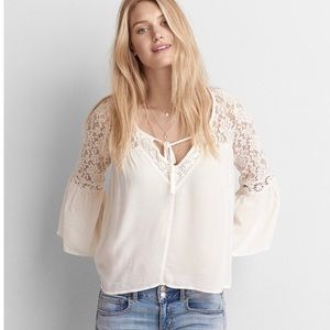 AEO Lace Bell Sleeve Shirt